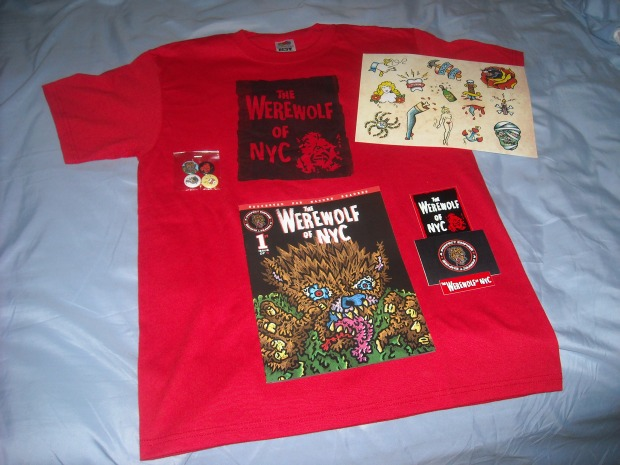 The Ultimate Werewolf of NYC Package, including the limited edition RED T-shirt that only went to Kickstarter backers!