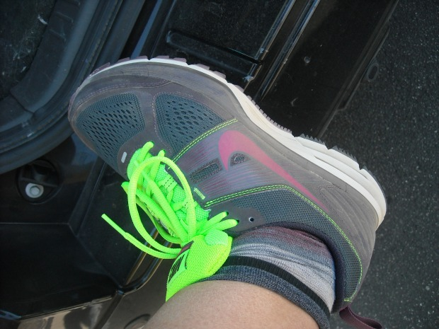 My new Nike Pegasus running shoes, purchased on sale at Lady Foot Locker