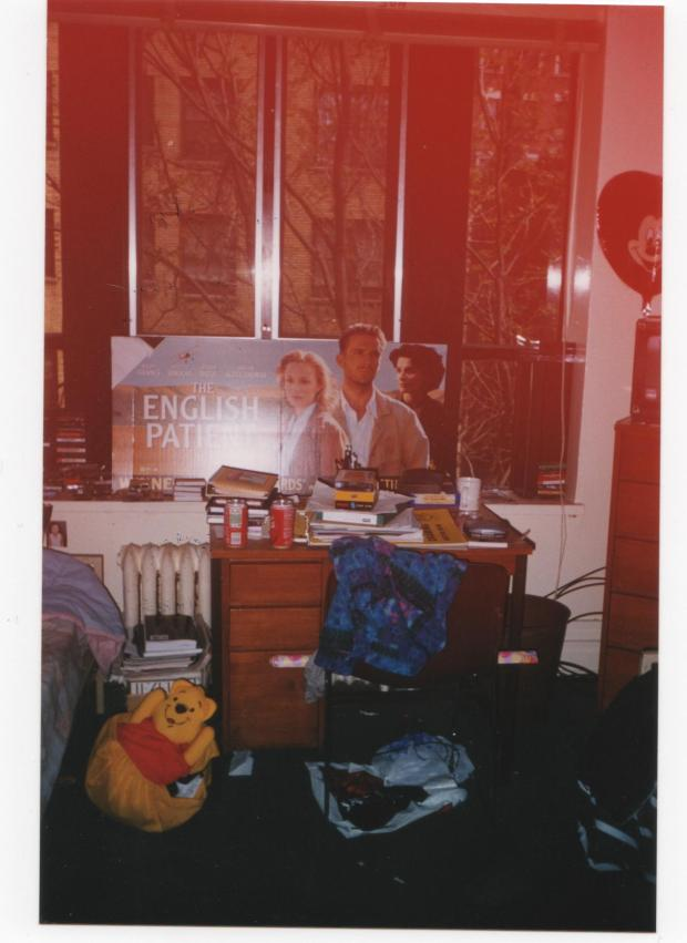 My desk, my Winnie the Pooh laundry bag, and the English Patient cut-out I got from a Blockbuster video - 1998