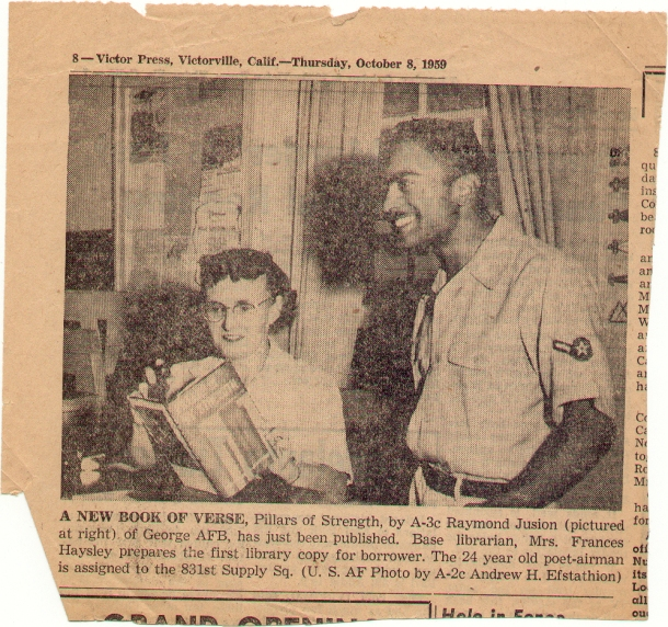 A newspaper clipping from a local paper in Victorville, CA announcing the publication of Pillars of My Strength in 1959. My dad was 24.