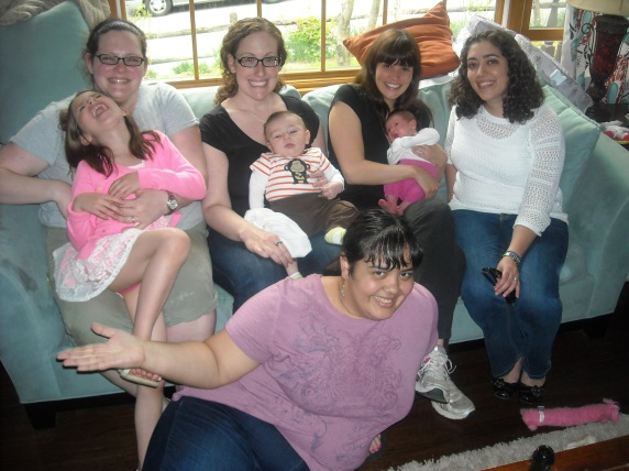 The Tribe in Croton: Liz M, Charlotte, Robin, Eli, Jean, Adeline, Katie, and me on the floor
