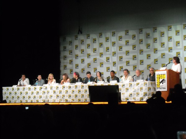 l-r: Sasha Roiz, Reggie Lee, Claire Coffee, Bree Turner, Silas Weir Mitchell, David Giuntoli, Bitsie Tulloch, Russell Hornsby, David Greenwalt, Jim Kouf, Norberto Barba, and moderator, Mary McNamara of the Los Angeles Times.
