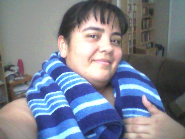 Toweling off after my workout.