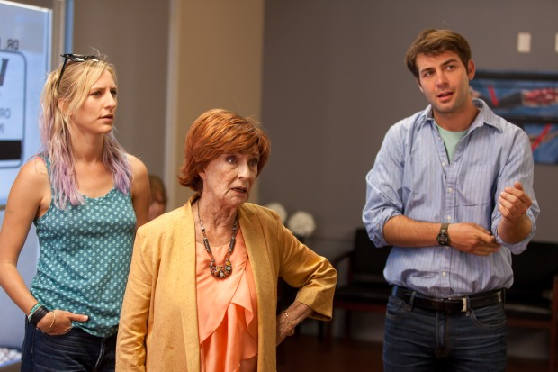 Mickey Sumner, Cloris Leachman, and James Wolk in a scene from This Is Happening. Photo courtesy of the production.